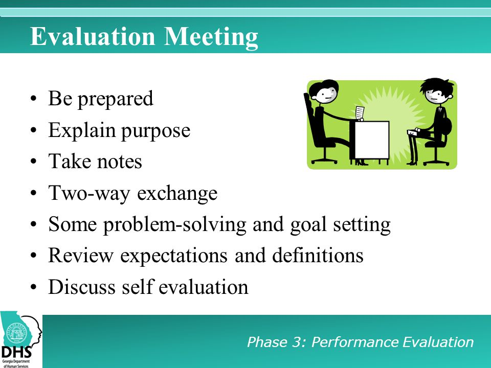 Evaluation Meeting Be prepared Explain purpose Take notes