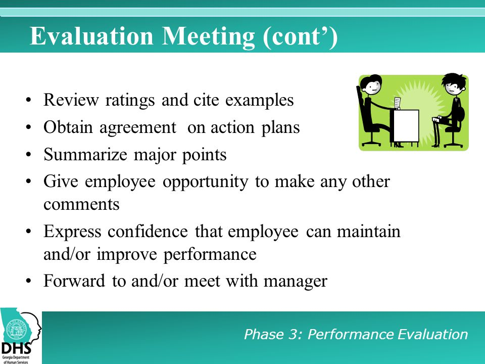 Evaluation Meeting (cont')