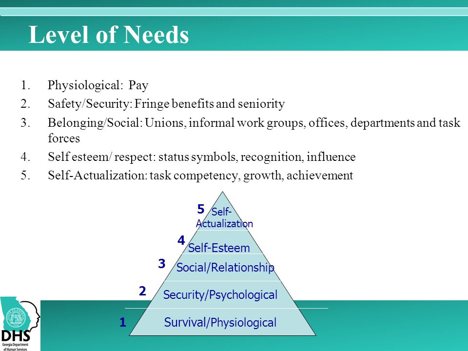 Level of Needs Physiological: Pay