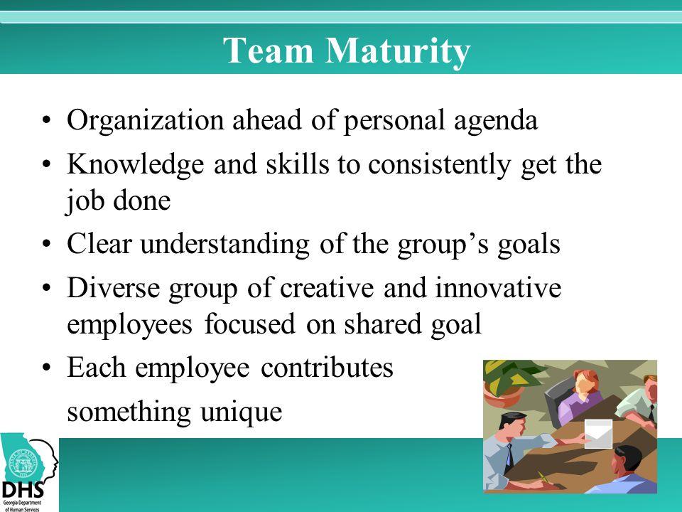 Team Maturity Organization ahead of personal agenda