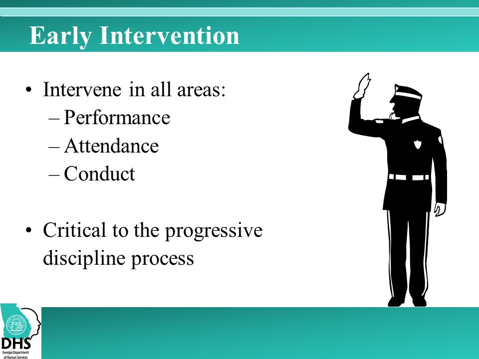 Early Intervention Intervene in all areas: Performance Attendance