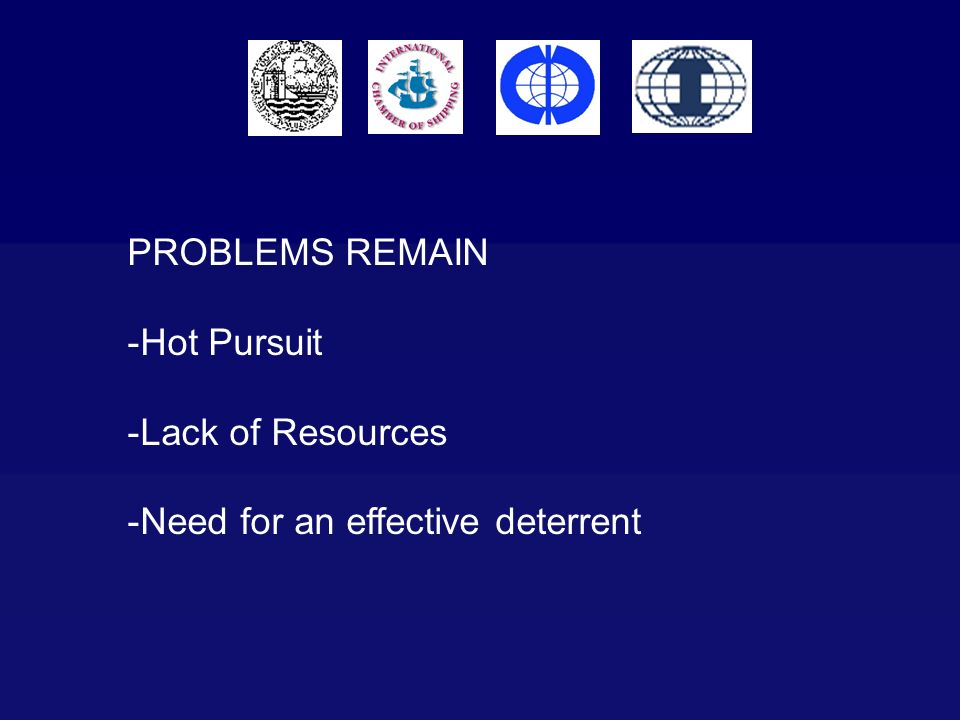 PROBLEMS REMAIN Hot Pursuit Lack of Resources Need for an effective deterrent