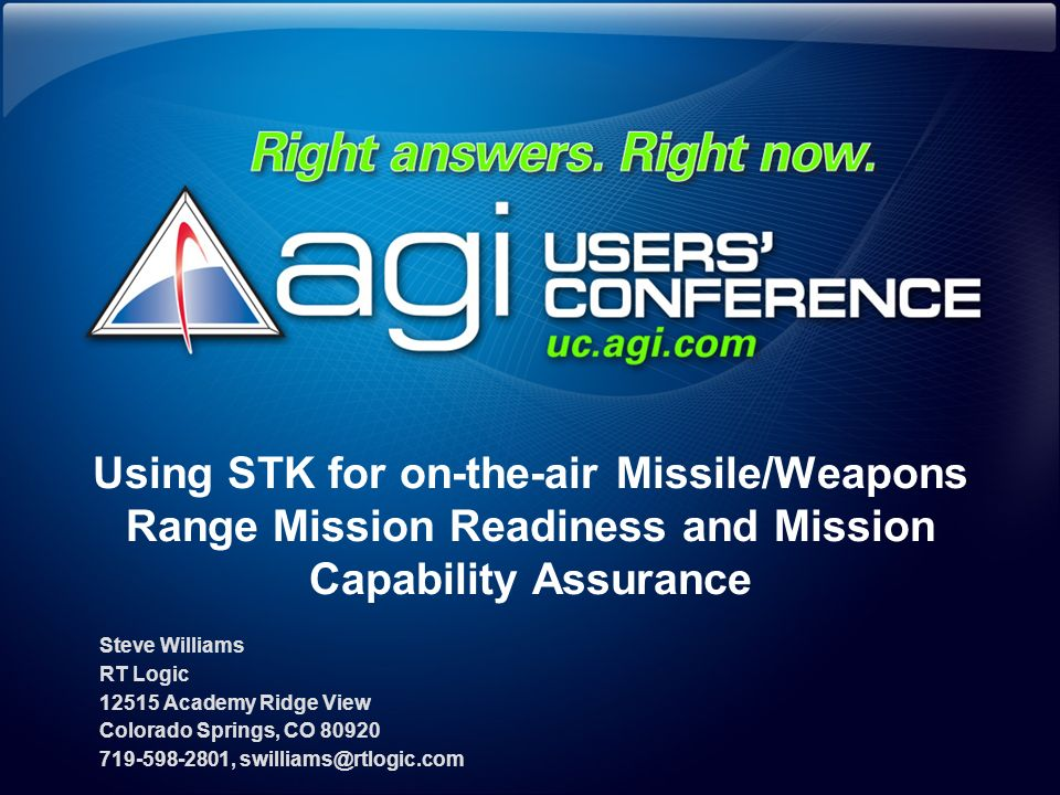 Using STK for on-the-air Missile/Weapons Range Mission Readiness and Mission Capability Assurance