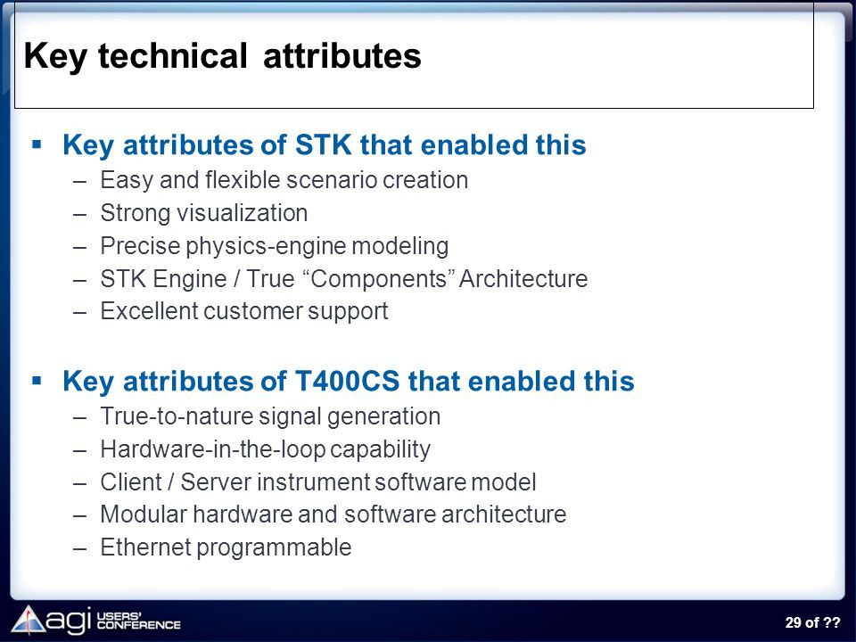 Key technical attributes