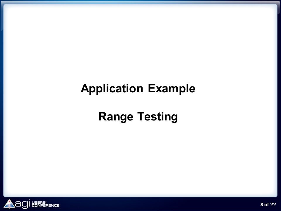 Application Example Range Testing