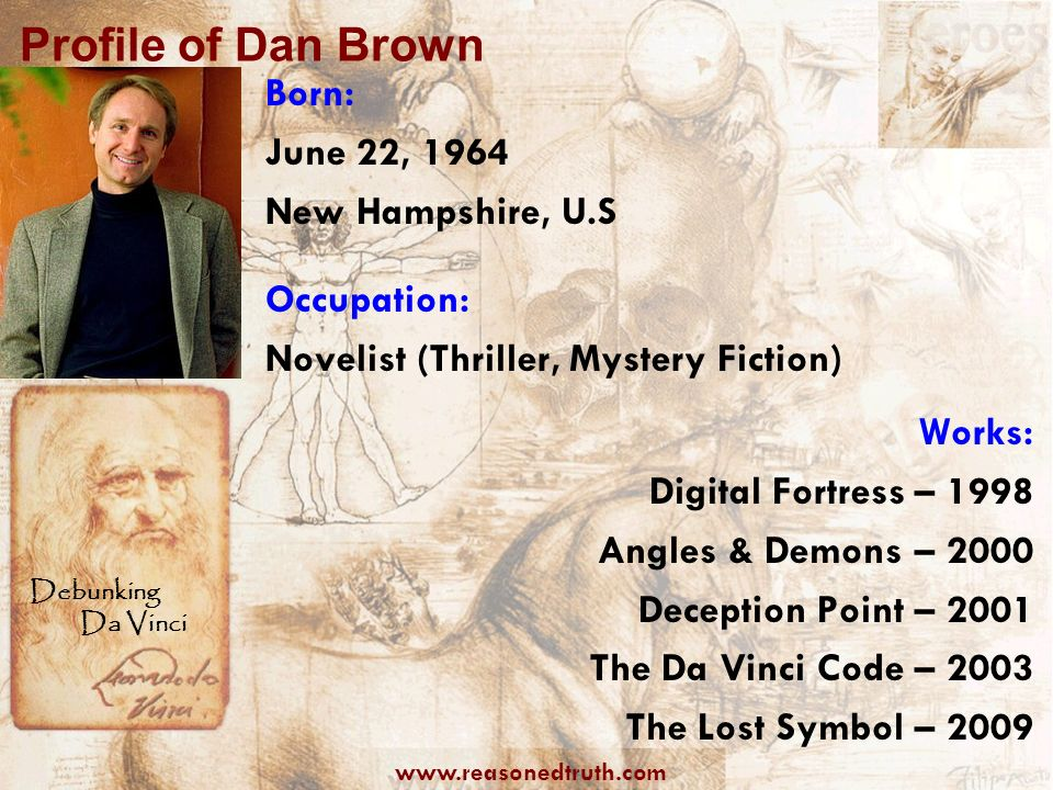 Profile of Dan Brown Born: June 22, 1964 New Hampshire, U.S
