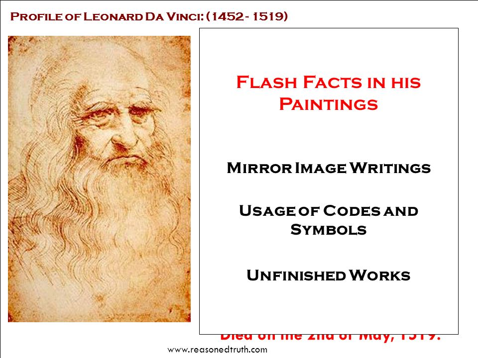 Works of Leonard Da Vinci Usage of Codes and Symbols
