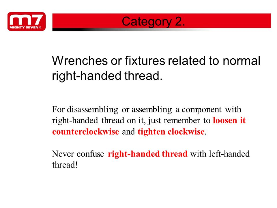 Wrenches or fixtures related to normal right-handed thread.