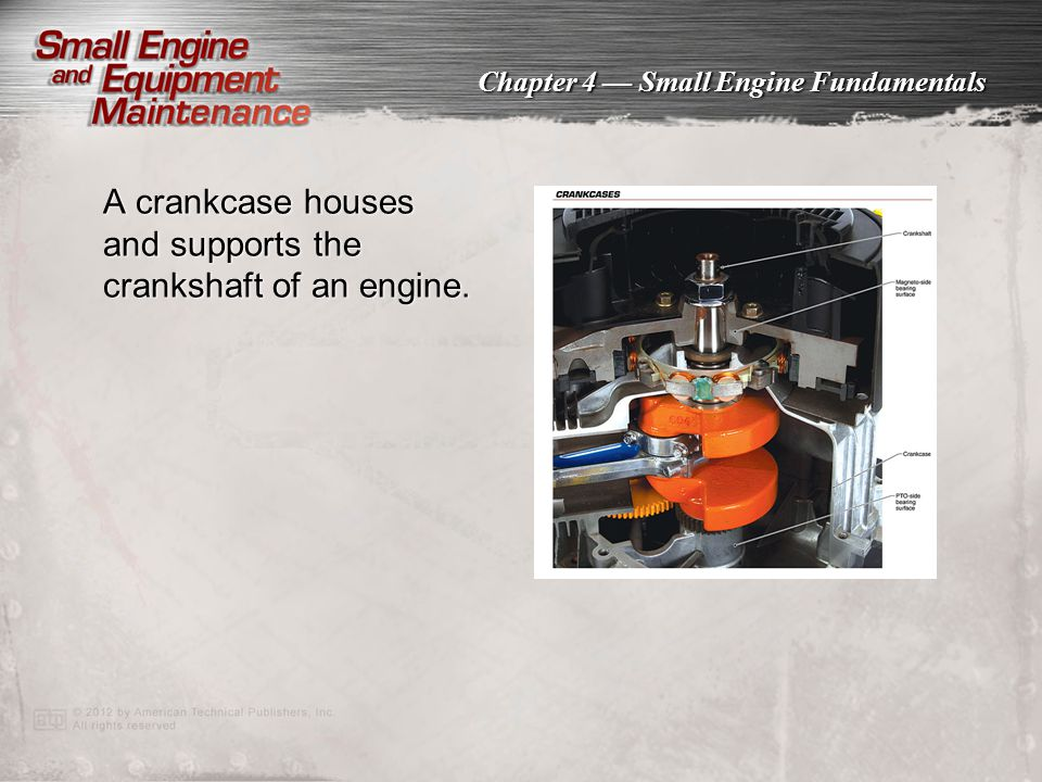A crankcase houses and supports the crankshaft of an engine.