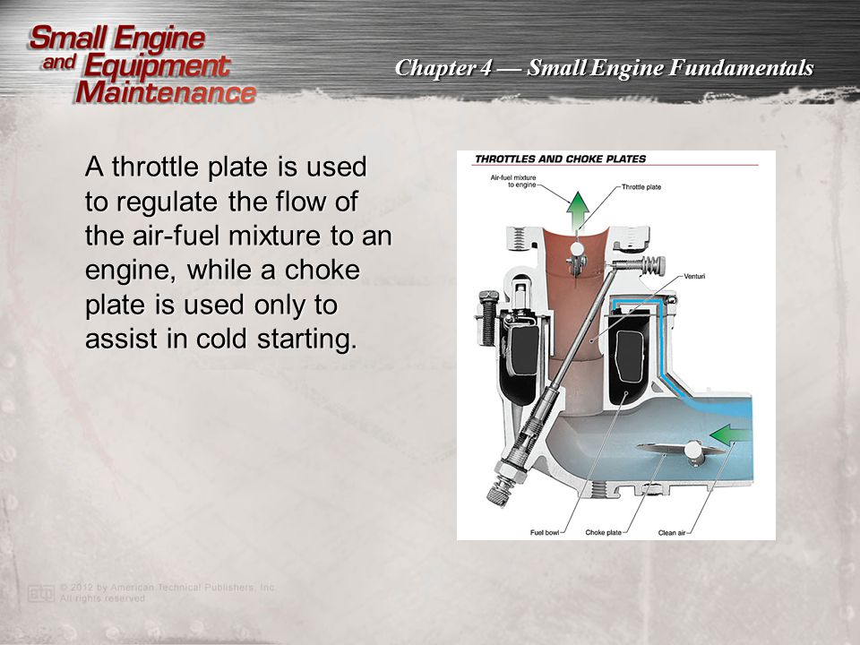 A throttle plate is used to regulate the flow of the air-fuel mixture to an engine, while a choke plate is used only to assist in cold starting.