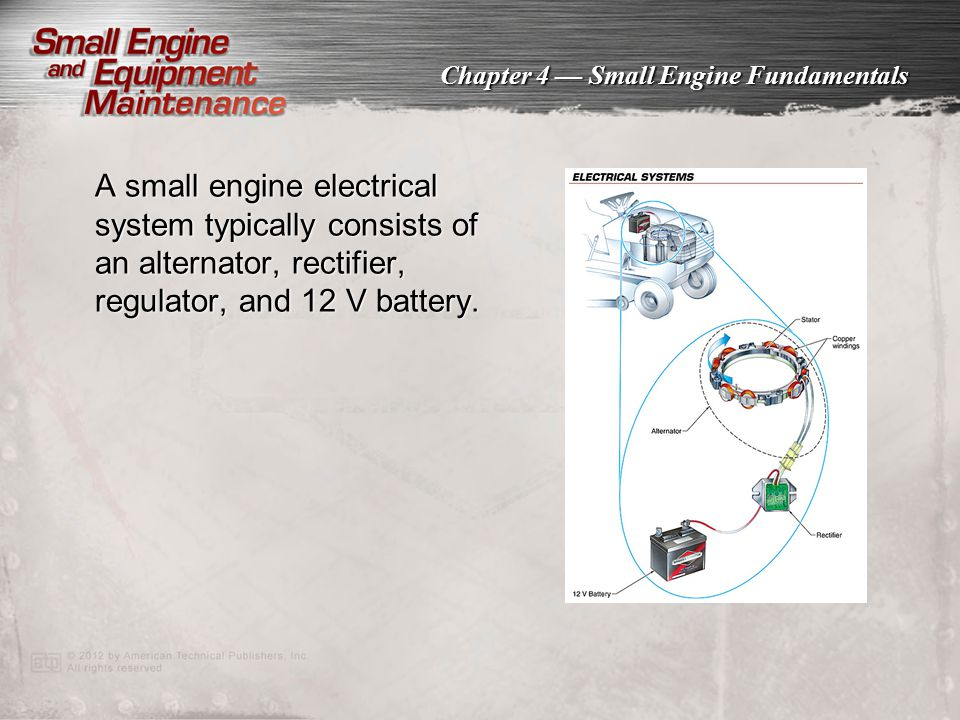 A small engine electrical system typically consists of an alternator, rectifier, regulator, and 12 V battery.