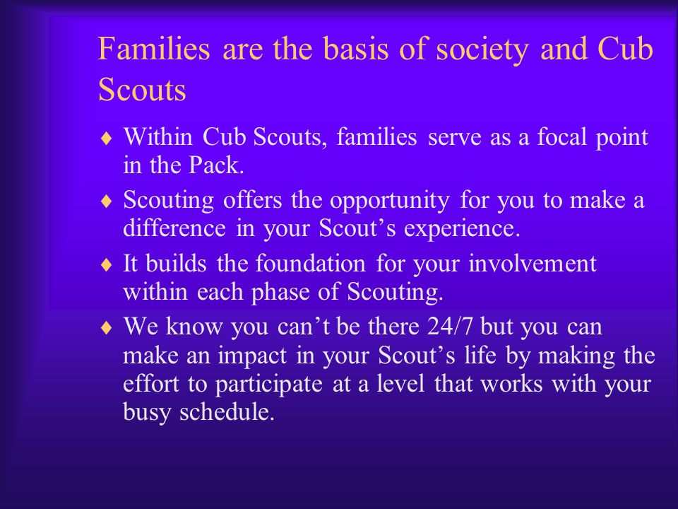 Families are the basis of society and Cub Scouts