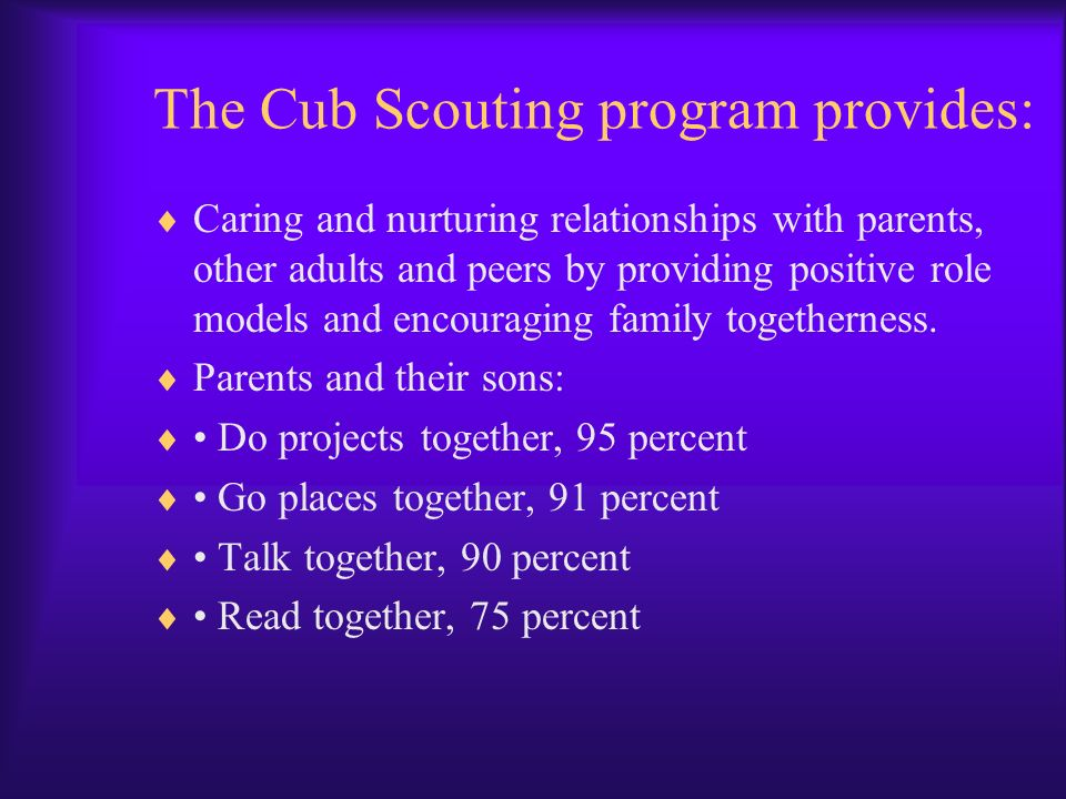 The Cub Scouting program provides: