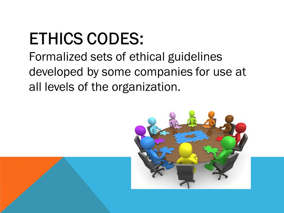 ETHICS CODES: Formalized sets of ethical guidelines developed by some companies for use at all levels of the organization.