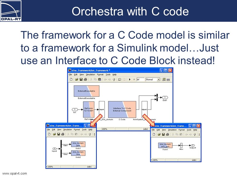 Orchestra with C code The framework for a C Code model is similar to a framework for a Simulink model…Just use an Interface to C Code Block instead!