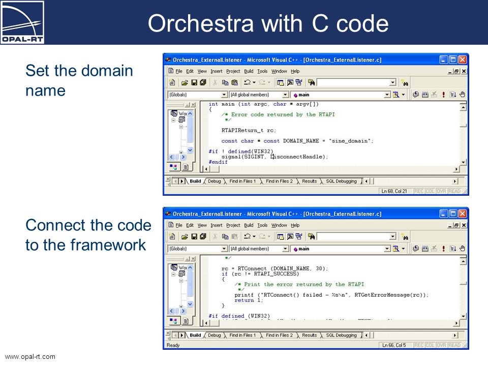 Orchestra with C code Set the domain name