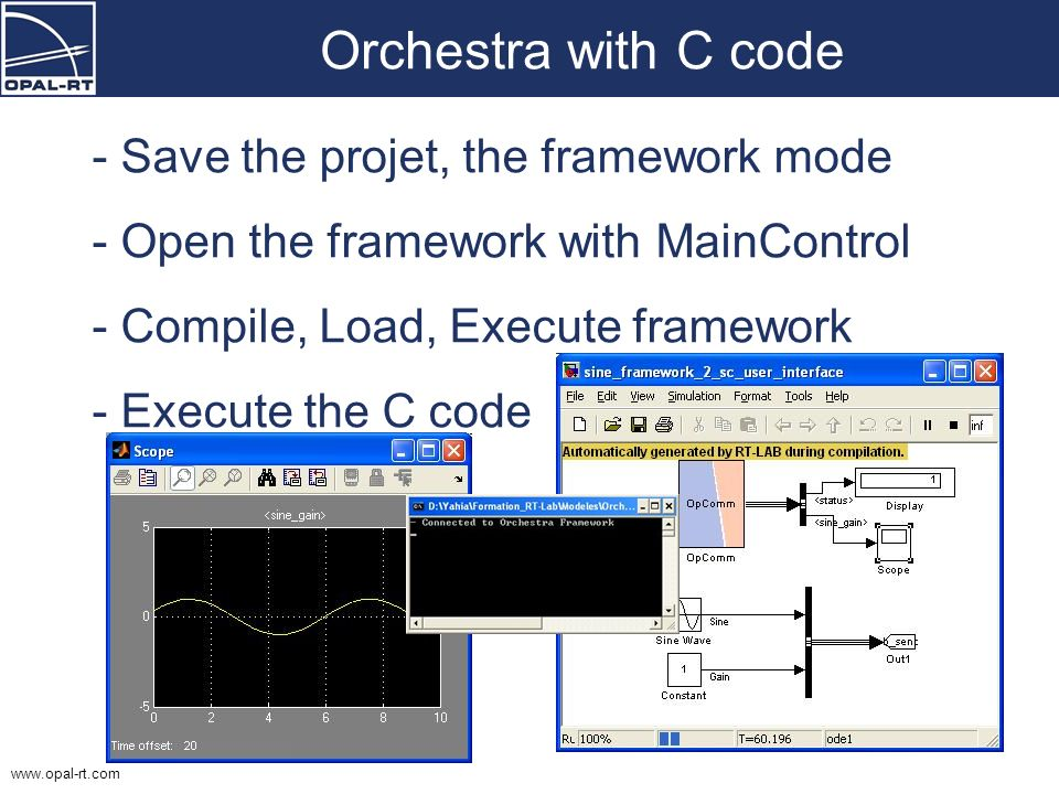 Orchestra with C code Save the projet, the framework mode