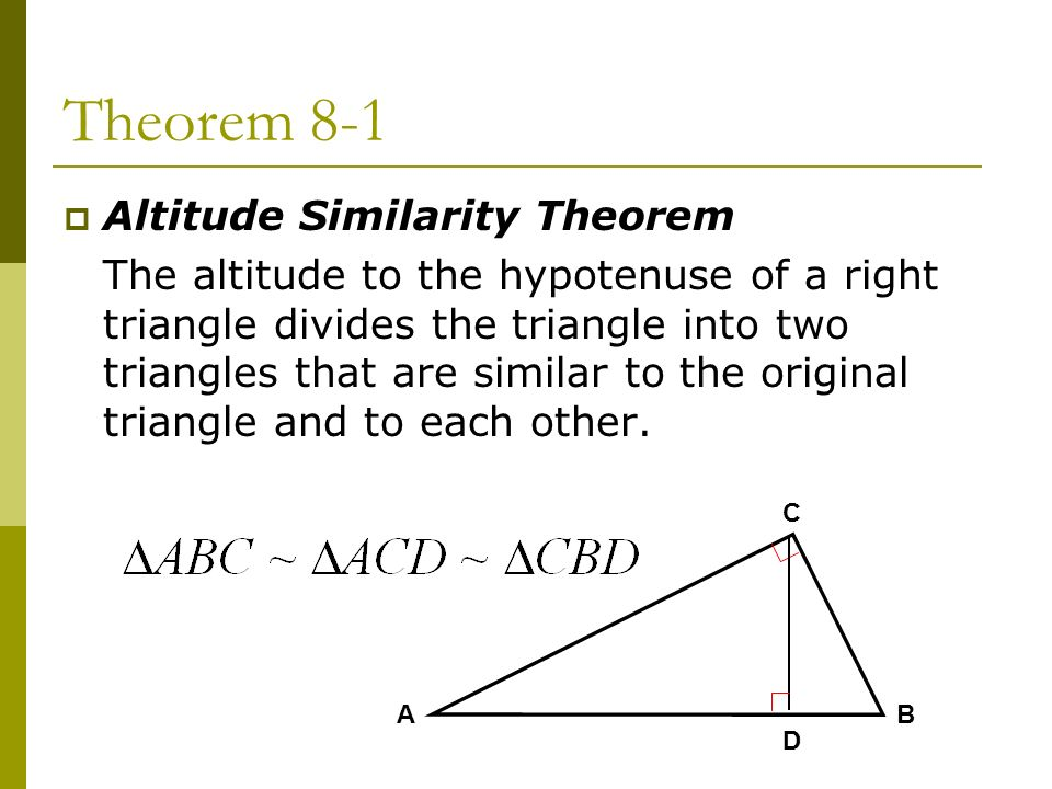 8 1 Similarity In Right Triangles Ppt Video Online Download