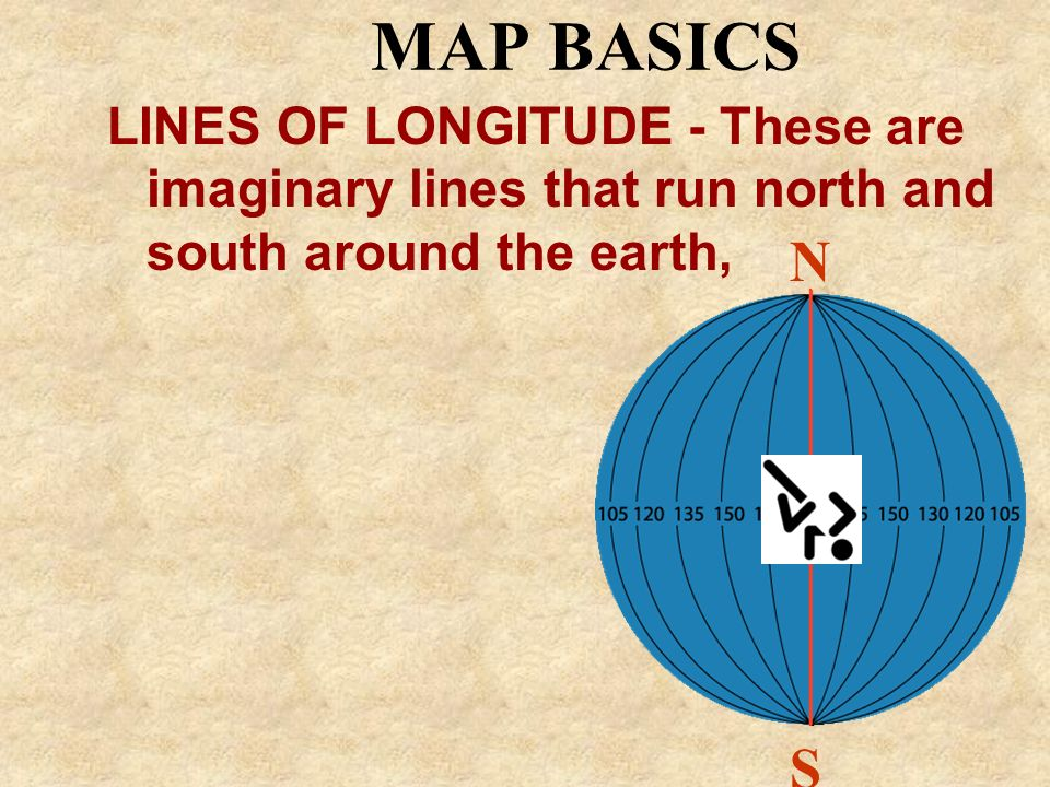 MAP BASICSLINES OF LONGITUDE - These are imaginary lines that run north and south around the earth,