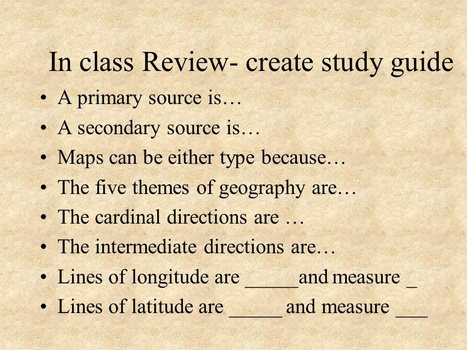 In class Review- create study guide