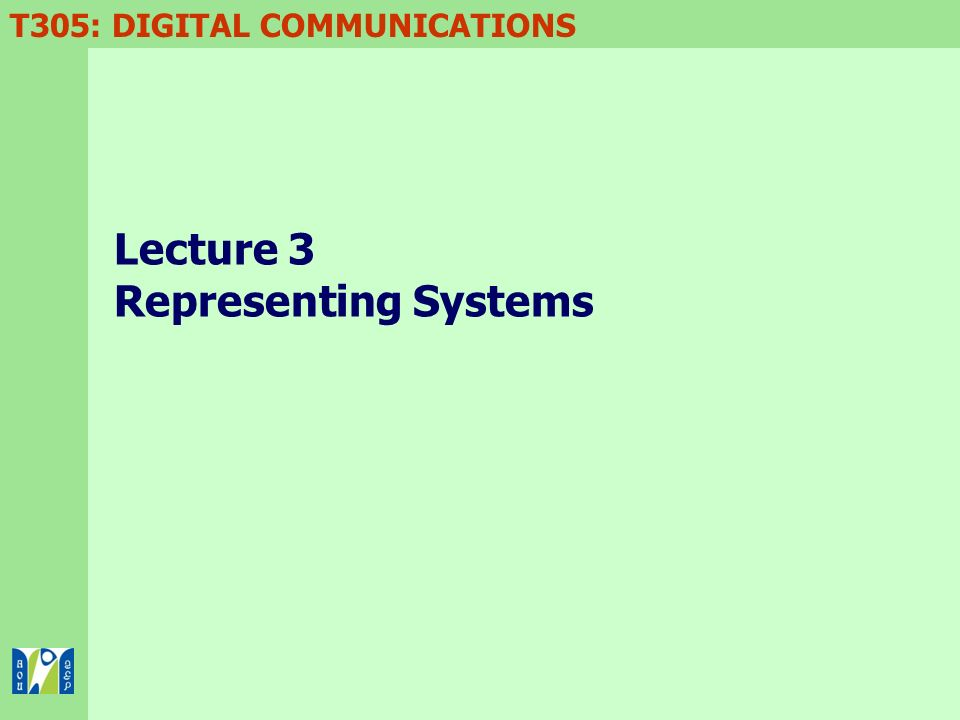 Lecture 3 Representing Systems