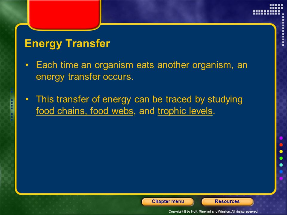 Energy Transfer Each time an organism eats another organism, an energy transfer occurs.