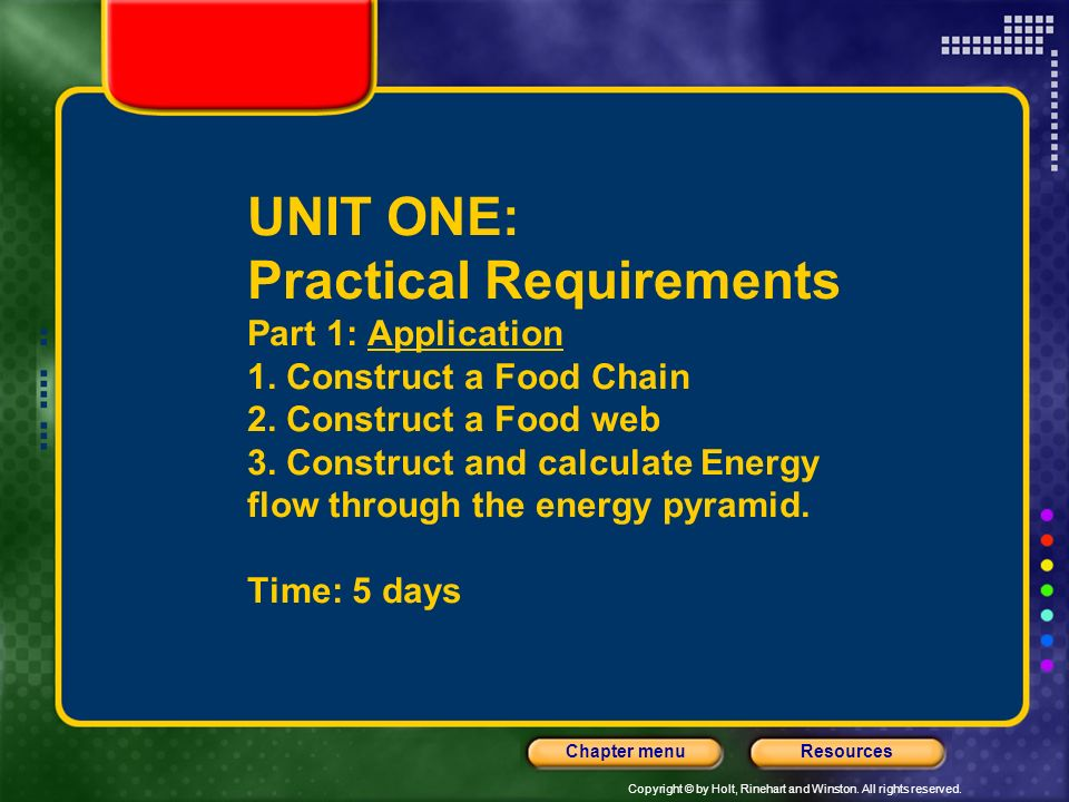 UNIT ONE: Practical Requirements Part 1: Application 1