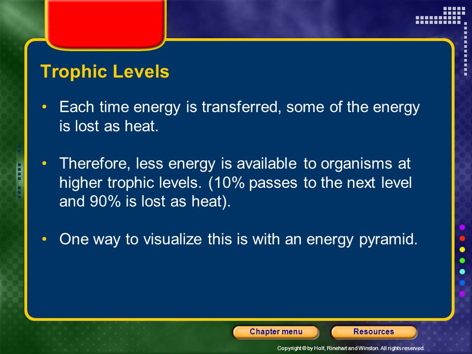 Trophic Levels Each time energy is transferred, some of the energy is lost as heat.
