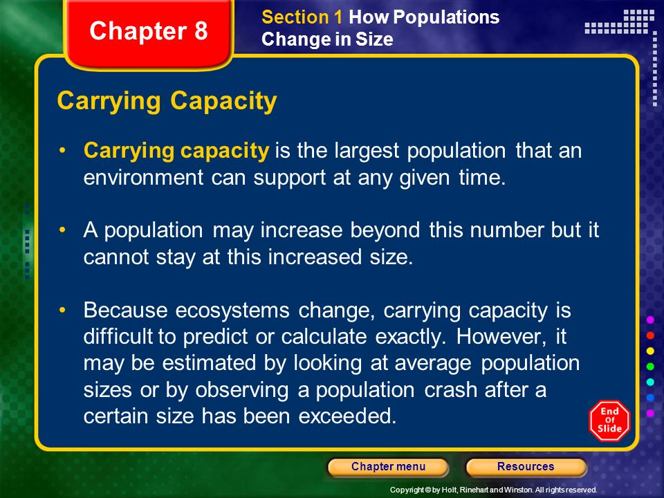 Chapter 8 Carrying Capacity