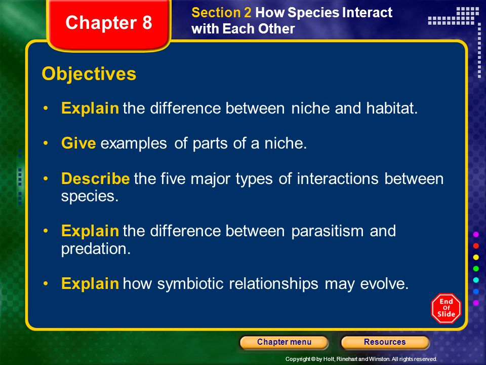 Chapter 8 Objectives Explain the difference between niche and habitat.