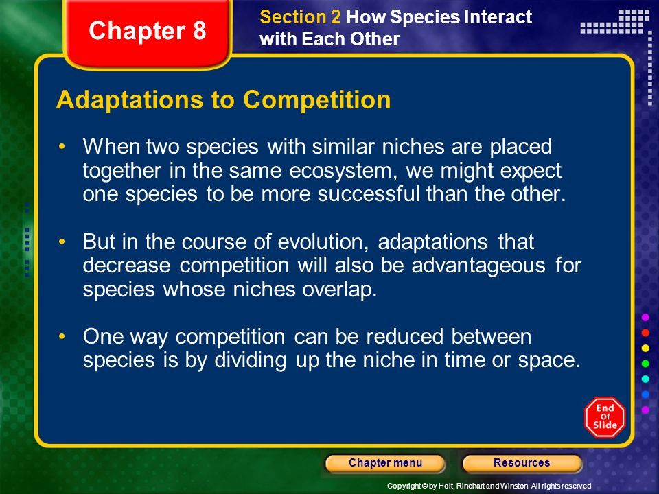 Adaptations to Competition