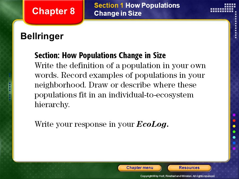 Section 1 How Populations Change in Size