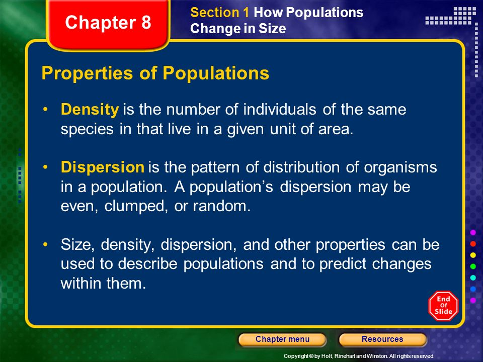 Properties of Populations