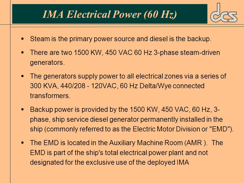 IMA Electrical Power (60 Hz)
