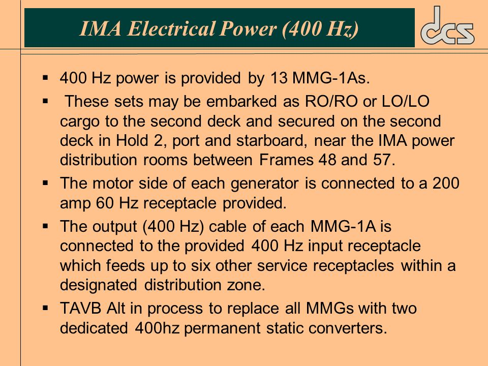IMA Electrical Power (400 Hz)