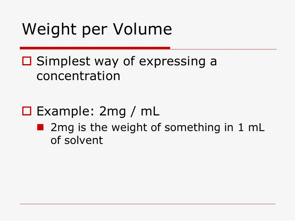 Weight per Volume Simplest way of expressing a concentration