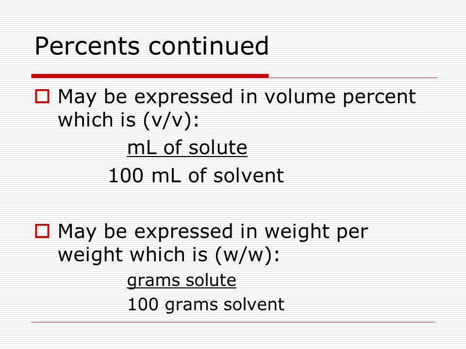 Percents continued May be expressed in volume percent which is (v/v):