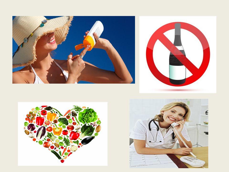 Die Sonnencreme, den Alkohol vermeiden, Obst und Gemüse, die Krankenschwester/die Ärztin/der Arzt