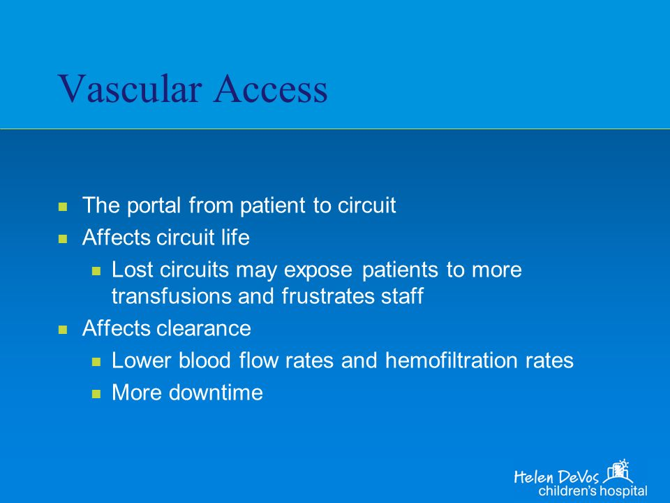 Vascular Access The portal from patient to circuit