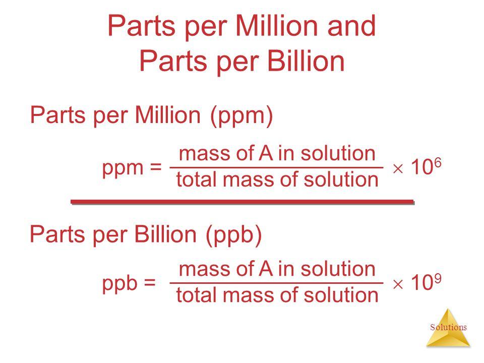 Parts per Million and Parts per Billion