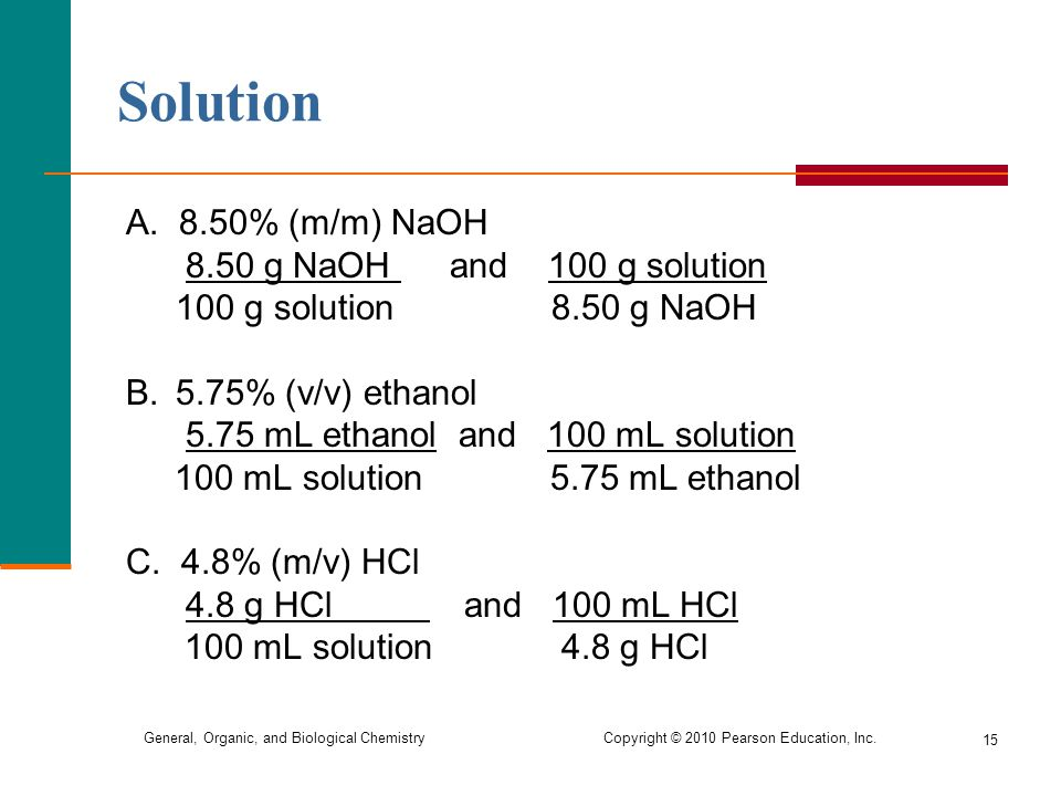 Solution A. 8.50% (m/m) NaOH 8.50 g NaOH and 100 g solution