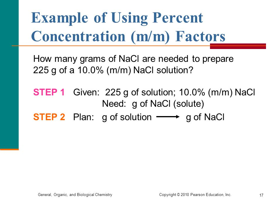 Example of Using Percent Concentration (m/m) Factors