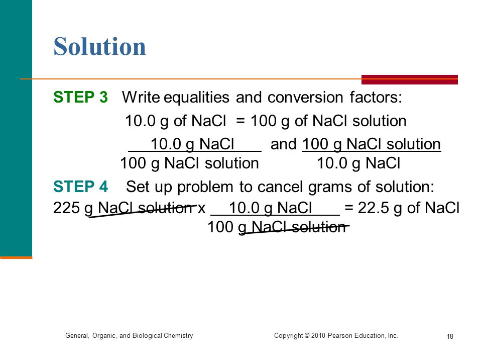 Solution STEP 3 Write equalities and conversion factors: