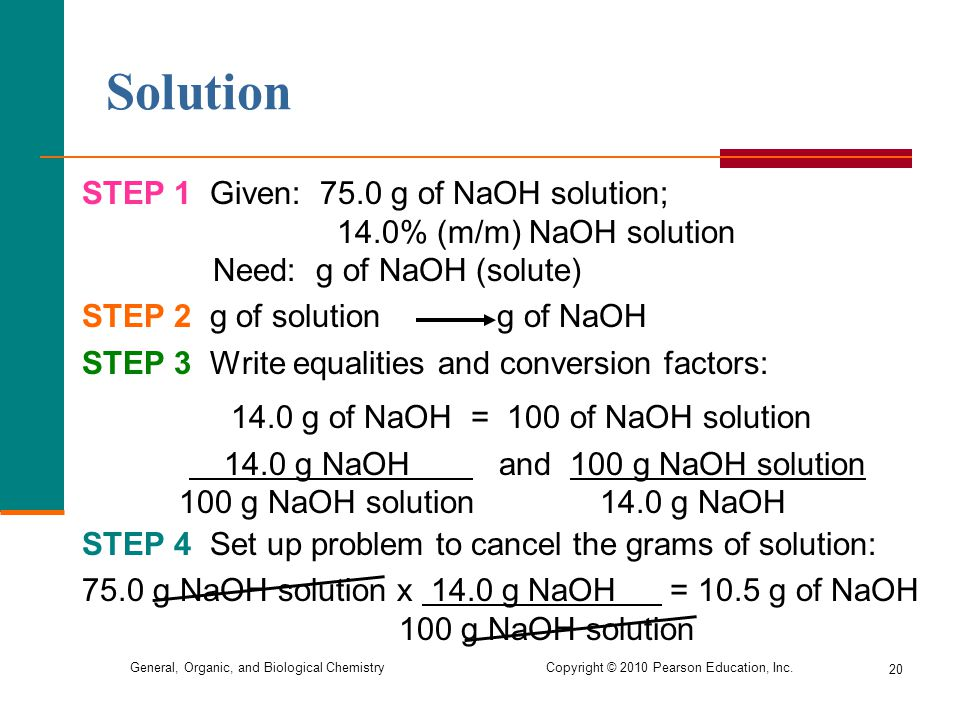 Solution STEP 1 Given: 75.0 g of NaOH solution;