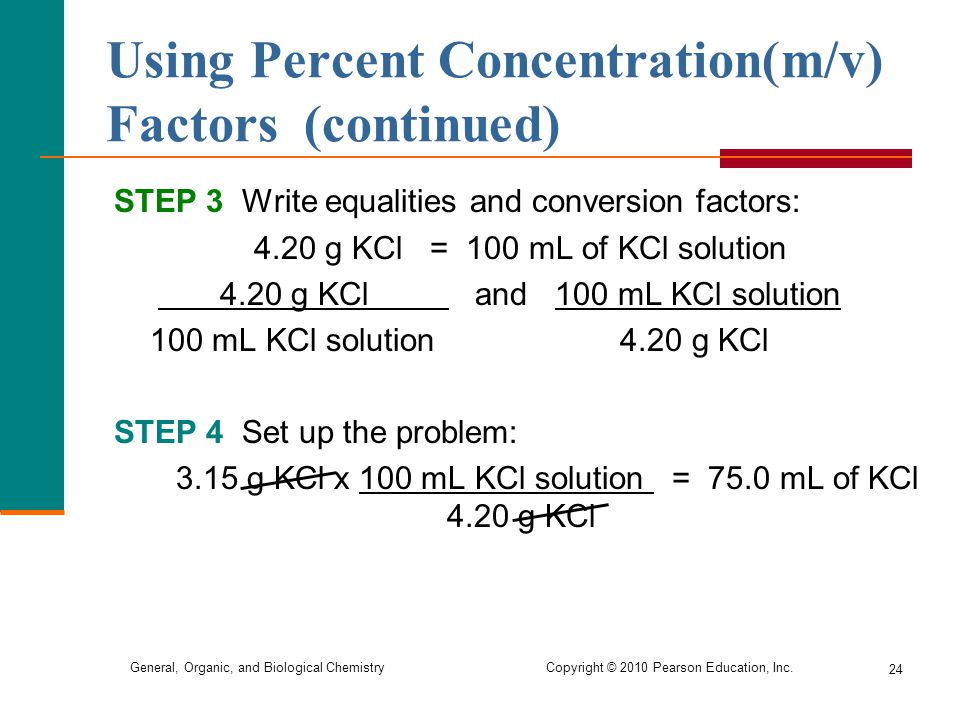 Using Percent Concentration(m/v) Factors (continued)