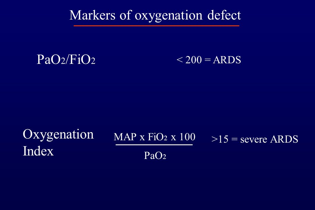 Markers of oxygenation defect