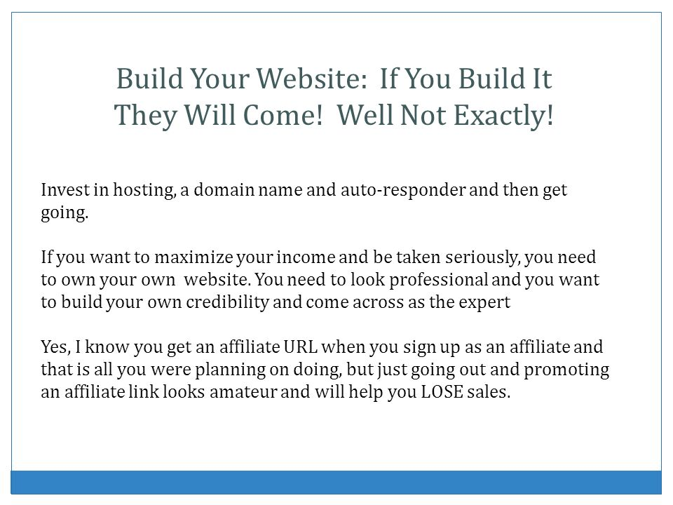 Build Your Website: If You Build It They Will Come! Well Not Exactly!