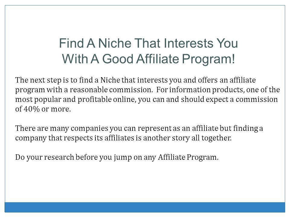 Find A Niche That Interests You With A Good Affiliate Program!