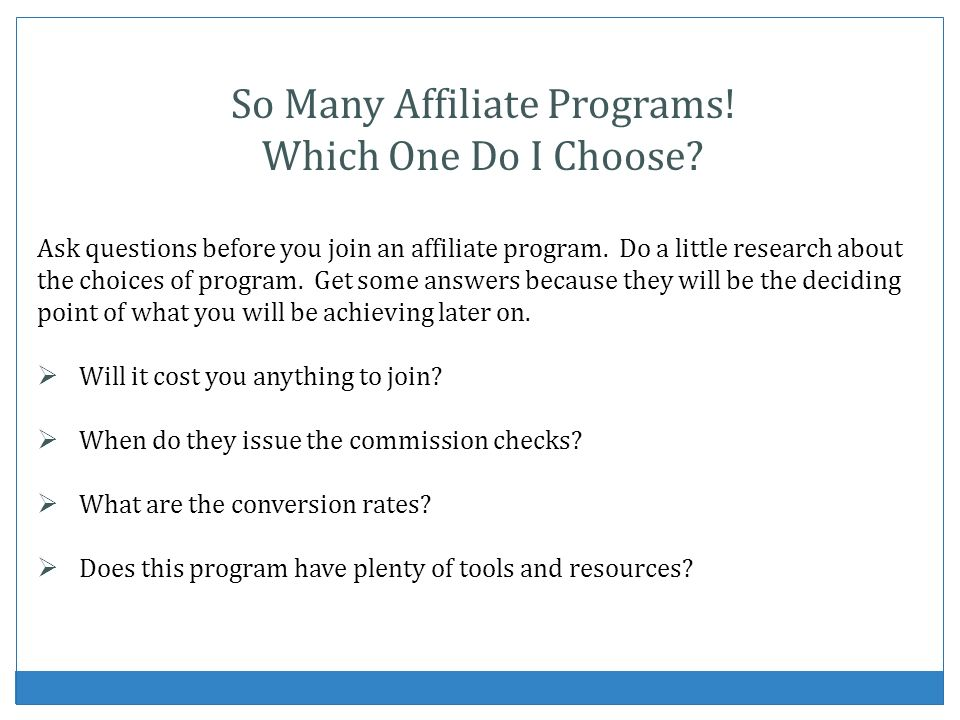 So Many Affiliate Programs! Which One Do I Choose