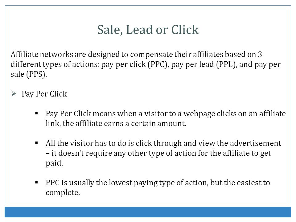 Sale, Lead or Click
